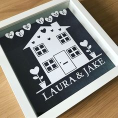 The perfect housewarming gift, find it on Etsy to buy. Beautiful way to celebrate a new home. Can be personalised to suit room decor. White or black shadow box frame. New Home Gifts, New Baby Gifts, Shadow Box Frames, Housewarming Party, Newborn Baby Gifts, Couple Gifts, Handmade Crafts, House Warming, Colorful Backgrounds