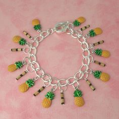 Pineapple & Bamboo Tiki Charm Bracelet - Vintage Inspired - Pin Up - Rockabilly - Tropical Hawaiian - Kitsch - Retro - 50s by PlayBox on Etsy