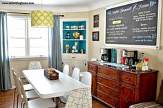 Love the idea of a coffee bar! Maybe, if I can convince the Hubby to move the tv to the family room, the living room can become a dining room/living room, with the sideboard serving as the coffee bar. Couple of comfy chairs in front of the fireplace, sectional moved to the family room....