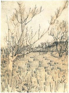 Orchard with Arles in the Background by Vincent Van Gogh  Drawing, Pencil, pen, black and violet ink  Arles: April - early in month, 1888