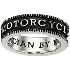 King Baby Studio Indian Motorcycle Logo Coin Edge Band (Silver) Ring ($180) ❤ liked on Polyvore featuring jewelry, rings, silver jewelry, king baby studio, silver band ring, indian silver jewelry and silver rings