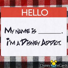 Hello My name is Peyton. I'm A Disney Addict. I'm a Disney addict. I'm a Disney addict. Disney Memes, Disney Quotes, Disney Pixar, Walt Disney, Disney Crossovers, Disney Shirts, Disney Cards, Disney Love, Disney Magic