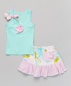 Look what I found on #zulily! Aqua Floral Ruffle Tank & Skirt - Infant, Toddler & Girls #zulilyfinds