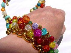 *Ein Armband in leuchtendem orange, pink, grün, türkis  und blau so bunt wie das Leben. Das Armband ist ein Hingucker und präsent, aber sehr angene...