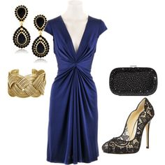 Blue Silk Dress with black and gold accessories. This dress is to.die.for. awesome...vegas night 2