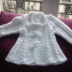 Gilet de baptême blanc, tricoté main
