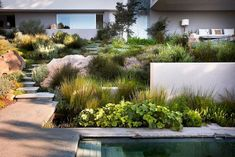 Brilliant Low Maintenance Front Yard Landscaping Ideas - Page 61 of 75 Modern Landscape Design, Modern Garden Design, Contemporary Garden, Landscape Plans, Hillside Landscaping, Modern Landscaping, Outdoor Landscaping, Front Yard Landscaping, Landscaping Ideas