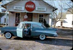 1957 Chevrolet 2-door sedan, photo taken in 1958 at Reeve's Grocery, Fitzgerald, Georgia