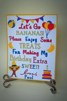 Birthday Party Candy Bar Sign / Curious George by TwinPerfection2