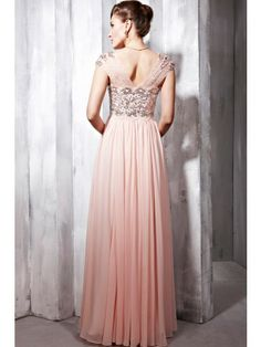 A-line/Princess Short Sleeves Sweetheart Chiffon Floor-length Beading Dress