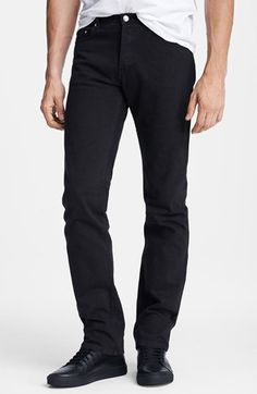 $210, A.P.C. New Standard Slim Straight Leg Jeans Black 32. Sold by Nordstrom. Click for more info: https://lookastic.com/men/shop_items/146448/redirect