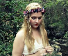Midnight - Romantic Renaissance flower crown in deep purple and blue, faerie, Ren Fair, bohemian wedding
