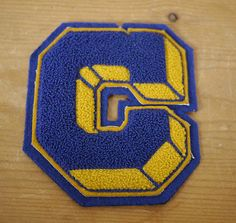"Vintage 1960s Chenille Wool Varsity ""C"" Block Letter Letterman Patch Blue & Gold"
