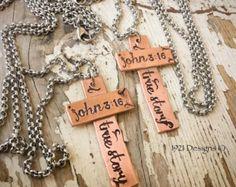 John 3:16 - hand stamped cross - copper - Edit Listing - Etsy
