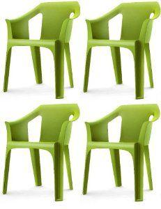 "Resol ""Cool"" Garden Outdoor / Indoor Designer Plastic Chairs - Green - Garden Furniture (Pack of 4 chairs): Amazon.co.uk: Kitchen & Home"