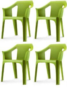 "Resol ""Cool"" Garden Outdoor / Indoor Designer Plastic Chairs - Green - Garden Furniture (Pack of 4 chairs): Amazon.co.uk: Kitchen & Home"