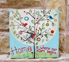 "Hand-painted wall-clock. Ceas de perete ""Tree"""
