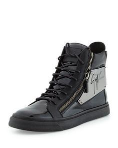 Men's Patent Logo-Plate High-Top Sneaker, Black by Giuseppe Zanotti at Bergdorf Goodman.  HOT!!!!!!!!!!!
