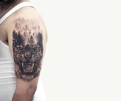 Forest Trees and Angry Tiger Head Tattoo On Left Half Sleeve