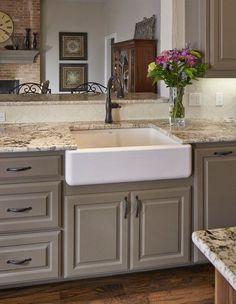 kitchen countertop ideas white ice granite countertop apron sink hardwood flooring
