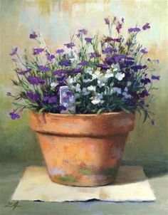 "Daily Paintworks - ""Lobelia"" - Original Fine Art for Sale - © Linda Jacobus"