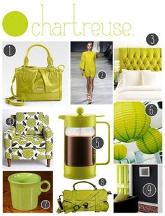 Chartreuse: A half green, half yellow color; it is precisely halfway between green and yellow, so it is 50% green and 50% yellow. It was named because of its resemblance to the green color of one of the French liqueurs called green chartreuse.