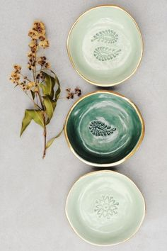 Handmade Gold Rimmed Ceramic Dishes | LiquoriceMoonStudios on Etsy