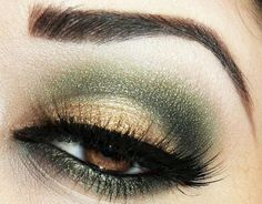 makeup inspiration for brown eyes: gold and olive/pine green eyeshadow
