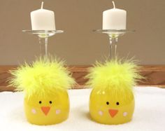 These yellow chick wine glasses are hand painted with acrylic paint and are a perfect addition to your Easter decor!  -Put a candle on top or