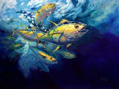 "Yellowfin Tuna Sportfishing Limited Original Art - ""Yellowfins"" - Savlen Studios"