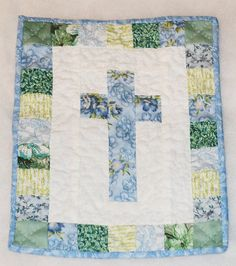 Mini Cross Quilt for Easter Decoration Blue by CindysQuiltPatch