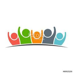 Teamwork Five Friends image. Concept of Group of People