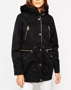 Image 3 ofVero Moda Parka Jacket With Quilted Sleeves