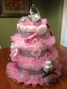 Tutu Diaper Cake, don't need to make one,but if I ever have to make another one...it will be like this one! So cute