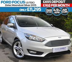 "Only 4.9% APR with 500 deposit allowance. 168 per month with 695 Customer Deposit. Ford Focus 1.5 TDCi 120 Zetec 5dr Moondust silver 2015. For more information visit: https://www.jenningsforddirect.co.uk/used/view/ford/focus/reg/fp65kuh/ Air Conditioning 17"" Alloy Wheels Privacy Glass Quickclear Heated Windscreen Bluetooth  USB 0 for 12 months road tax Appearance Pack 1 Front Fog Lights Sync 2 Navigation https://www.jenningsforddirect.co.uk/used/view/ford/focus/reg/fp65kuh/"