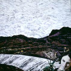 NADA ACKEL. STELLA ET LES OISEAUX, 2000. Huile sur toile (oil on canvas), 120x120 cm. (Autoportrait, selfportrait)