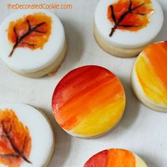 painted cookie bites for Fall and 18 other fall leaf-themed treats and snacks