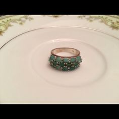 final markdown Sterling silver amazonite ring. This is a beautiful ring with three rows of oval amazonite stones.  Very little wear on band.  Great condition. Jewelry Rings