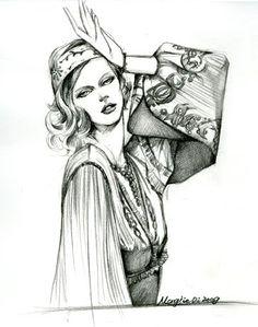 Fashion Illustrator Mengjie Di: Pencil Drawings: I'm falling for you <3