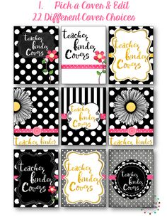 I'm in love with these beautiful notebook covers...I can't wait to start printing:)  Black & White Polka Dot Teacher Binder Planner Covers$