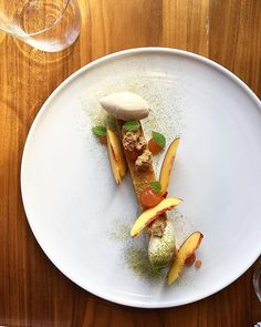 Couple new menu items! Chess Pie w/ Buttermilk & Brown Butter ~ Pickled Nectarine Gel ~ Hazelnut Crumble ~ Tamarind Sherbet ~ Kaffir Lime Mascarpone ~ Kaffir Leaf Powder ~ Fresh Nectarines. My goal was to use a classic Americana dessert and spin it with flavors from cultures that make Boston what it is today. #bostoneats #saveroom #dessert #dessertlife #pastrychef #pastrylife #bosfeed #boston #fortpoint #newamericana .