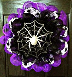 Halloween Wreath  Spider  Halloween Decor Fall Decor Wreath   Fall Wreath   Deco Mesh Wreath   Holiday Wreath   Handmade   Custom Wreath. $40.00, via Etsy.
