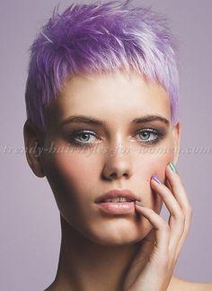 pixie cut, pixie haircut, cropped pixie - lavender hair color