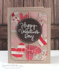 A Valentine's Day card by Kristina Werner. Love the idea of using diecuts to create a background.