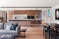 The kitchen is the hero of these new Melbourne apartments - The Interiors Addict - kitchen - living space - residential interior design Australian Interior Design, Interior Design Awards, Residential Interior Design, Interior Ideas, Casual Living Rooms, Living Spaces, Milan Furniture, Furniture Design, Melbourne Apartment