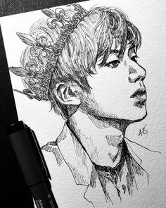 Day the real prince Face Sketch, Drawing Sketches, Drawing Ideas, Kpop Drawings, Pencil Drawings, Bts Chibi, Korean Art, Kpop Fanart, Art Sketchbook