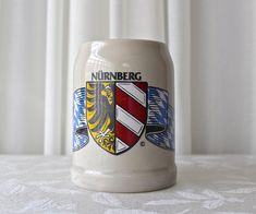 Vintage Stoneware Traditional Beer Mug NÜRNBERG Germany German Beer Mug, German Beer Steins, Corner Bar, Vintage Enamelware, Vaseline Glass, Vintage Wine, Root Beer, Black Glass, Stoneware
