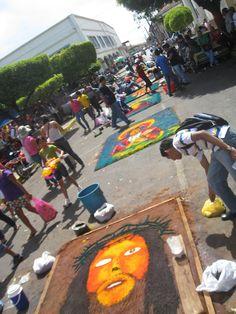 Semana Santa (Holy Week) sand art on the streets in Leon, Nicaragua
