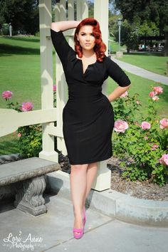 Katherine Ruched Panel Dress in Black   Pinup Girl Clothing