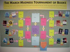 Motivation to Read March Madness Tournament of Books. This bulletin board displays books that students read and rate to see which book will make it to the top by being rated highest. Class is split into groups that represent rounds. Reading Strategies, Reading Activities, Teaching Reading, Teaching Ideas, Library Activities, Reading Lessons, Reading Resources, Learning, Future Classroom